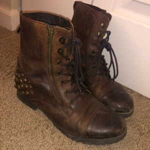Brown studded combat boots
